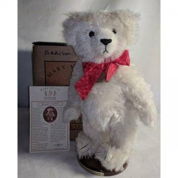 "New ListingLM Mary Meyer Addison 15"" Jointed White Mohair Classic Teddy Bear & Stand NEW"