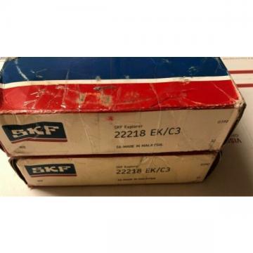 (2) SKF EXPLORER 22218 EK/C3 SPHERICAL ROLLER BEARING , 90x160x40 MM